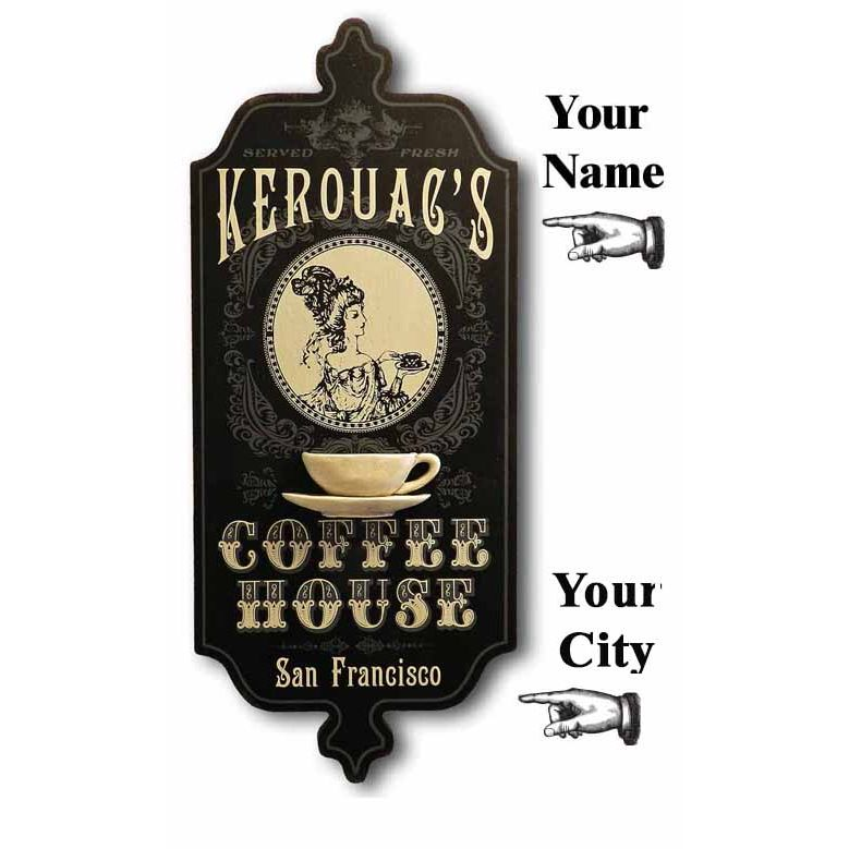 Coffee House Personalized Wooden Sign - Item #H0101