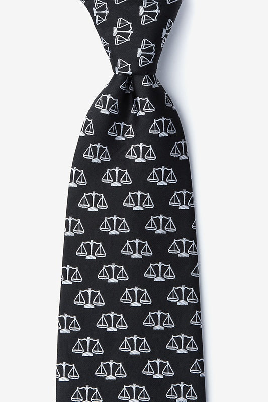 Scales of Justice Black Silk Tie - Item #H0105