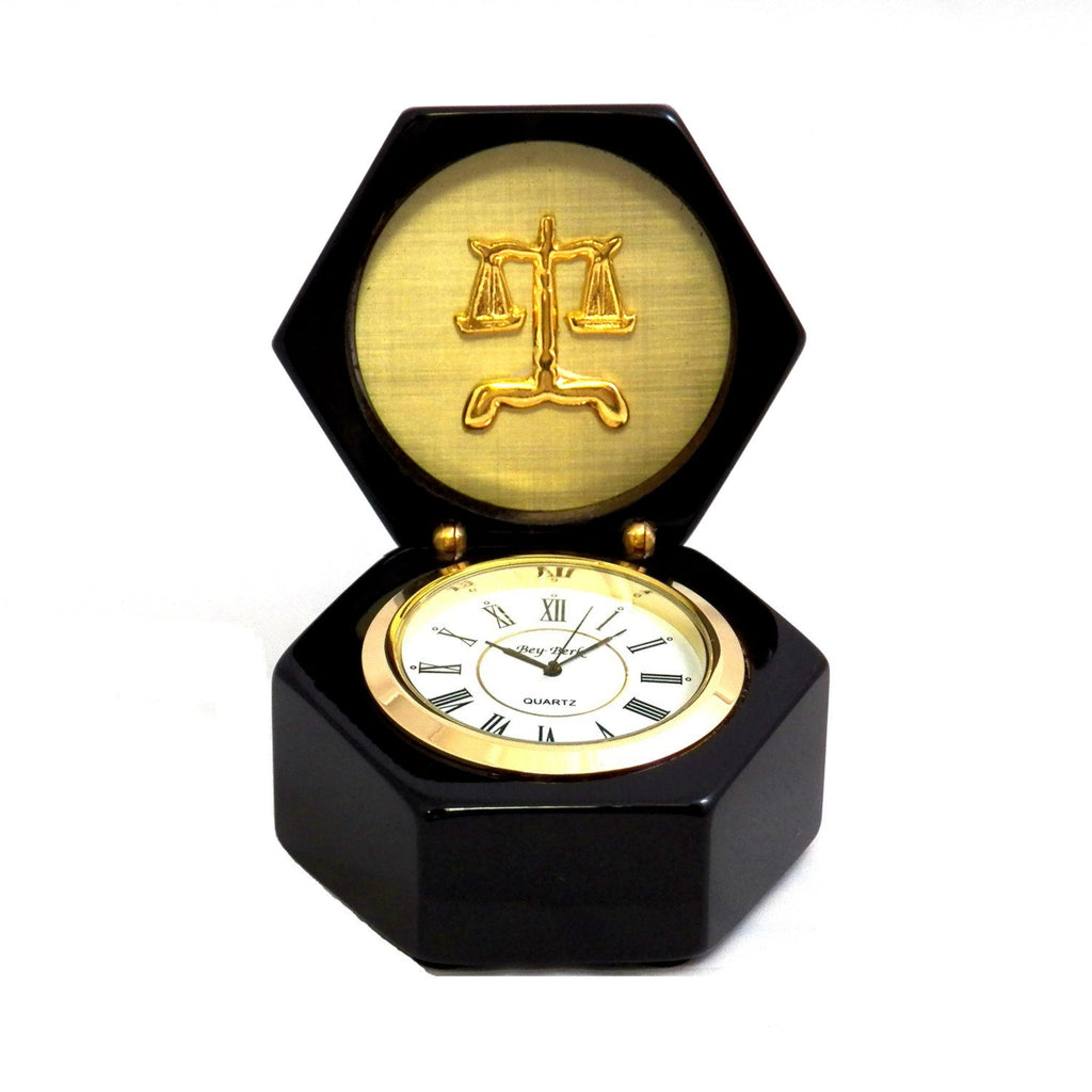 Legal Scales of Justice Stanford  Lacquered Ebony Wood Box with Quartz Clock -  Item #3065