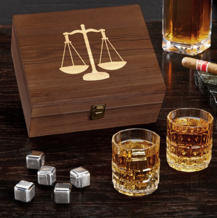 Whiskey Box Set with Scales of Justice - Item #H0136