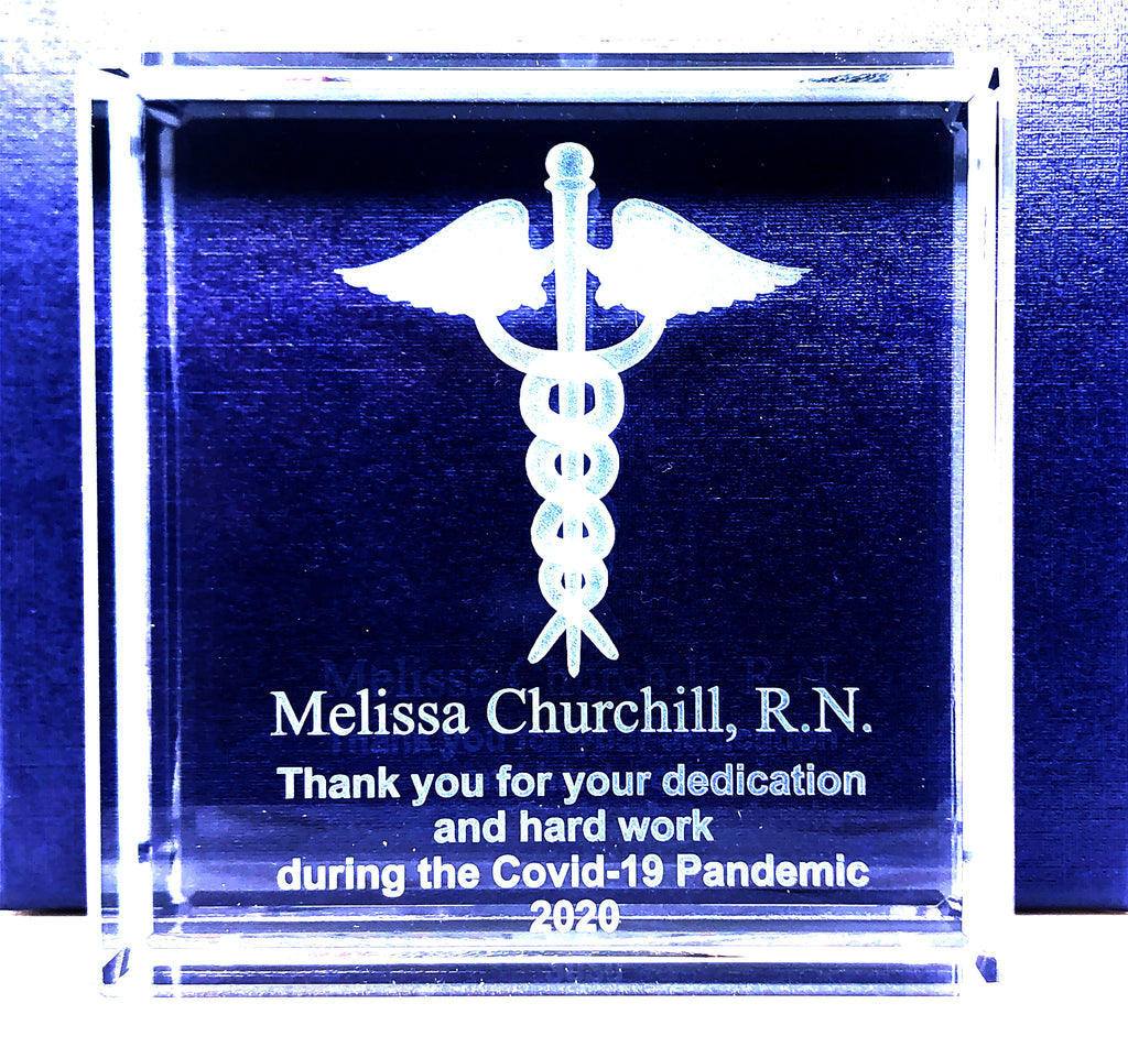 "Nurse Appreciation 3x3 or 5""x5"" Optical Crystal with 3D Caduceus  Item# CV001"