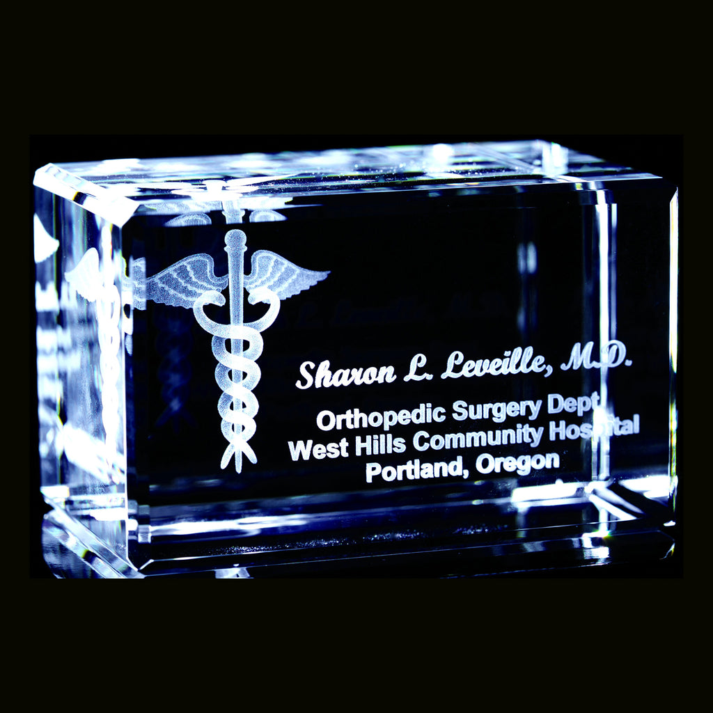 Medical Caduceus- 3d Personalized crystal Item# 3711