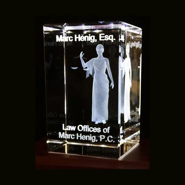 "Lady of Justice-Two inch- 3d Personalized crystal 2""x3"" Item# 3710"