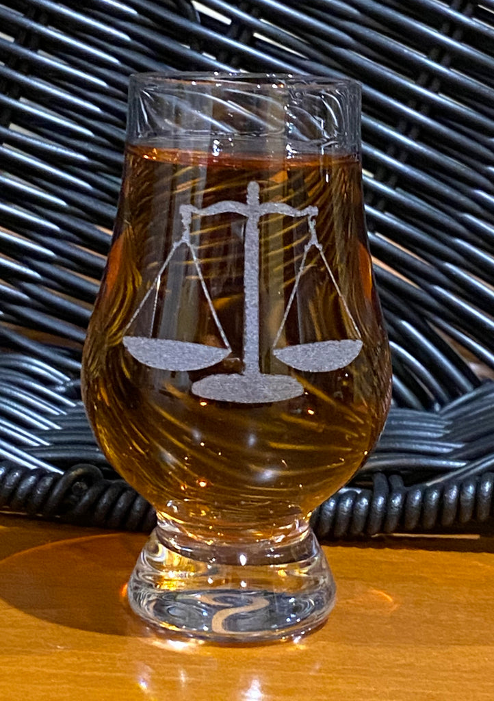 Whiskey Barrel Flight Stave with 4 Personalized Wee Glencairn Glasses- Item #H0141