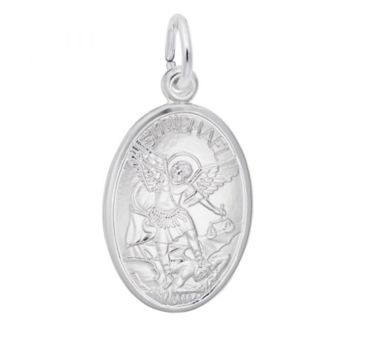 Sterling Silver St. Michael Oval Disc Charm Item #H0016