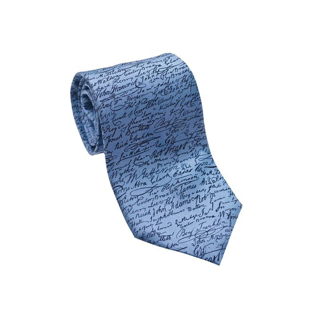 Patriotic & Historical Silk Tie - Declaration of Independence (Blue) - Item #3230