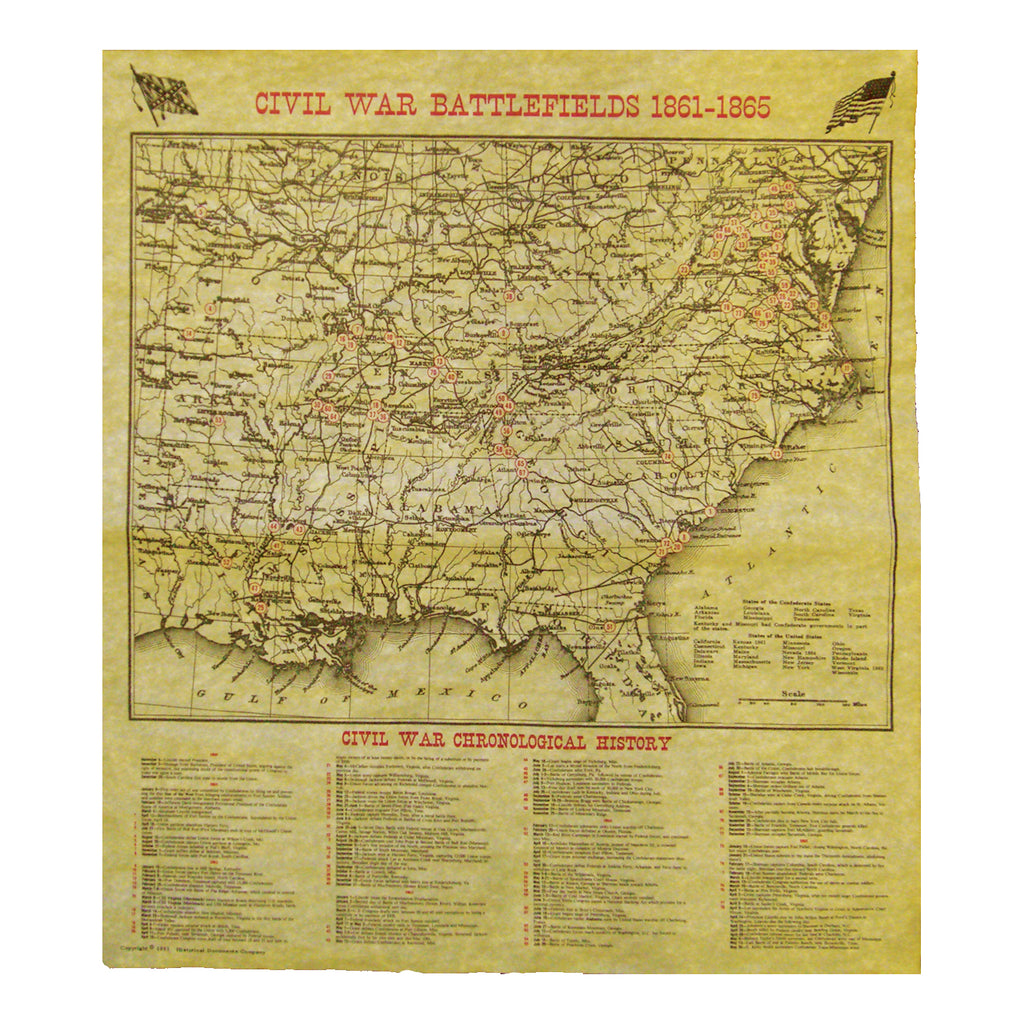 Historical Documents - Civil War Battlefield Map 1861 - 1865 Item #1890U