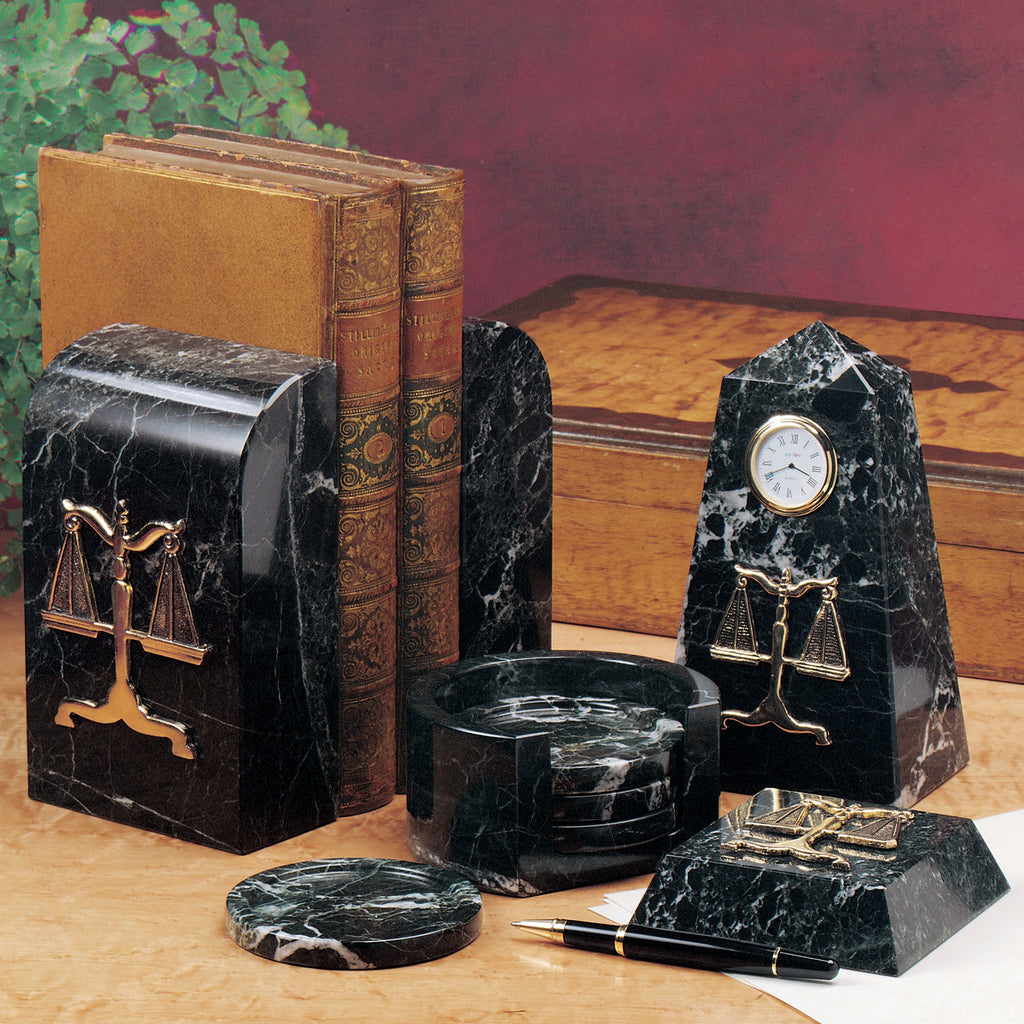 Desk Sets - Black Marble Bookends (Attorney) - Item #0742A
