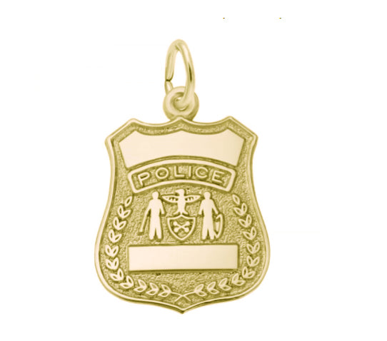 10k Gold Police Badge Charm Item #H0011