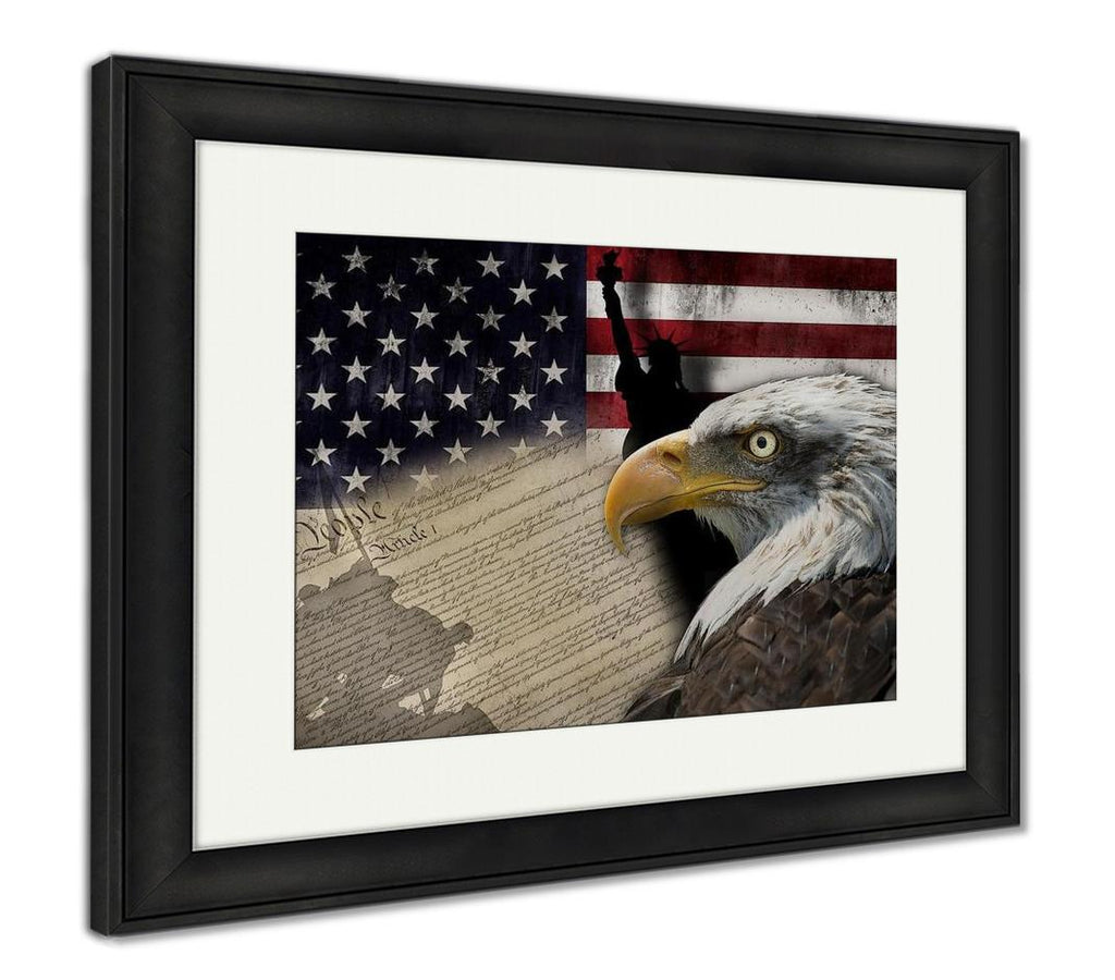 Framed Print, American Flag And Monuments