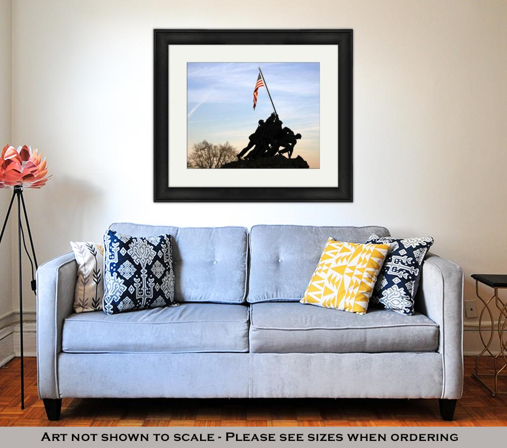 Framed Print, Iwo Jima Memorial At Sunset