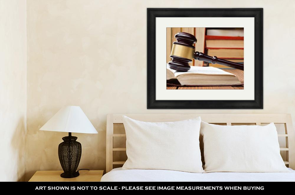 Framed Print, Supreme Court Law Book Wooden Judges Gavel On Table Courtroom