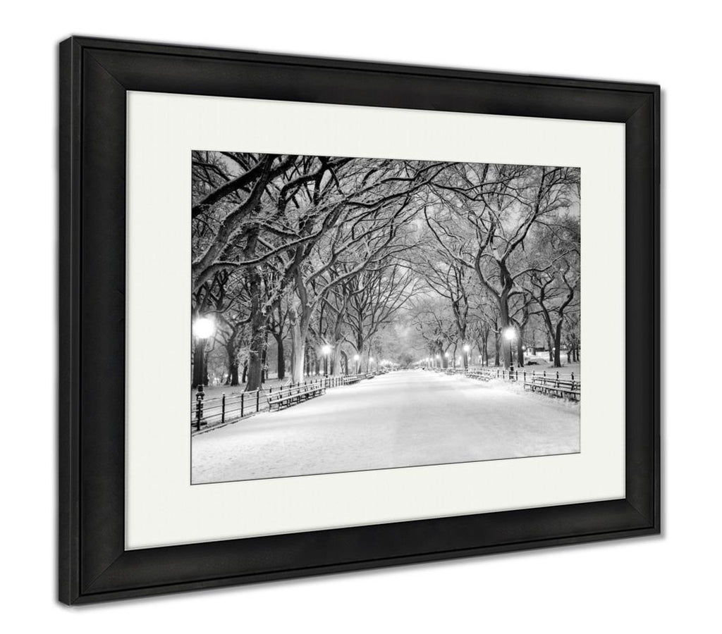 Framed Print, Central Park Ny Covered In Snow At Dawn