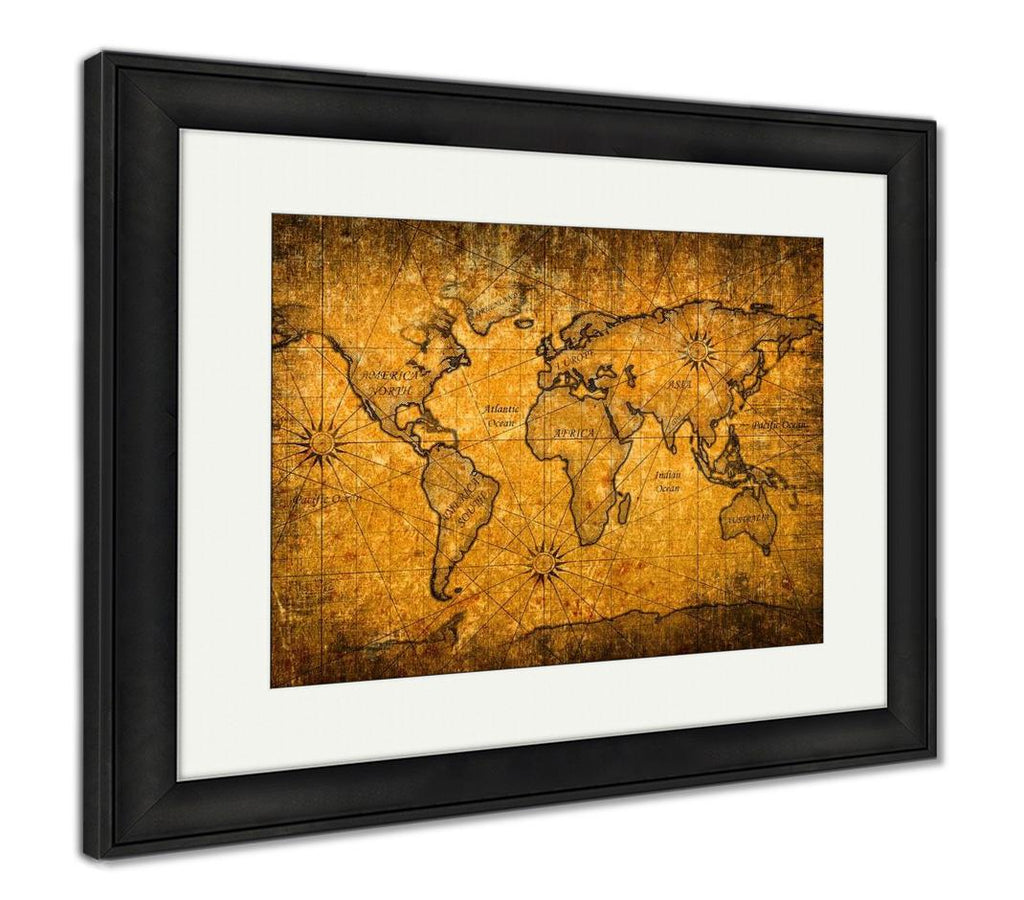 Framed Print, Vintage World Map With Grunge