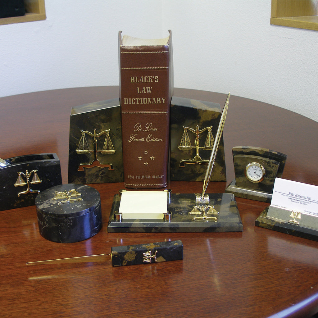 Lawyer Brown Marble Desk Set - Brown Marble Trinket/Paperclip Box - Item #3622
