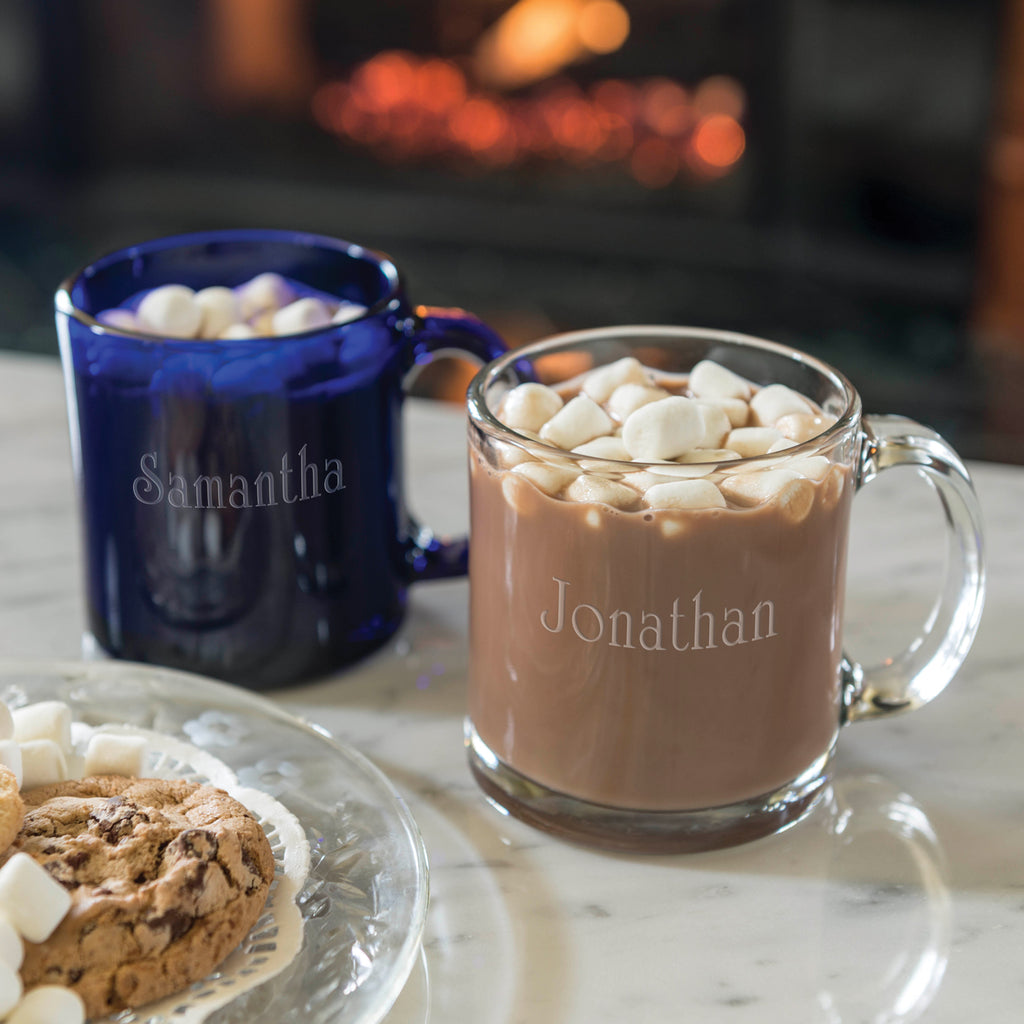 Personalized Glass Mugs - For Hot and Cold! (Blue - Set of 2) - Item #1689
