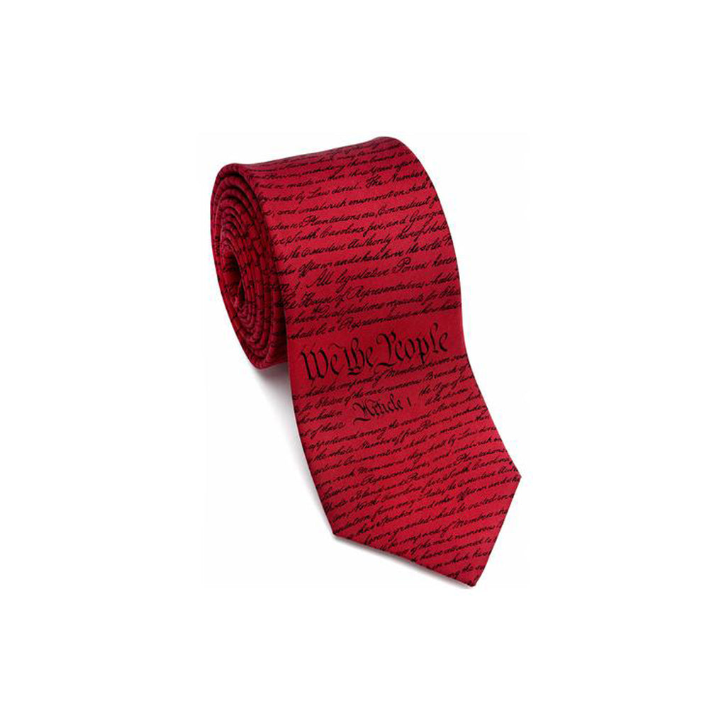 Patriotic & Historical Silk Tie - U.S. Constitution (Red) - Item #3231