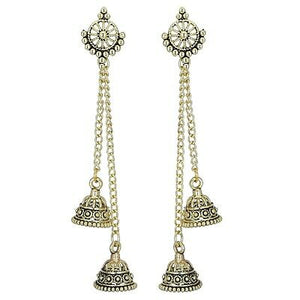 Indian Ethnic Bollywood Gold Oxidized Multi Long Jhumka Jhumki Bridal Earrings