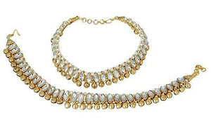 Indian Bollywood Kundan Anklet Fashion Gold Tone Belly Dance Payal Jewelry