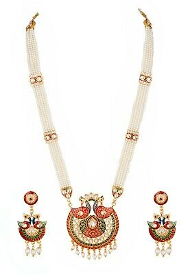 Indian Bollywood Gold Plated Unique Fashion Pearl & Kundan Necklace Earring Set