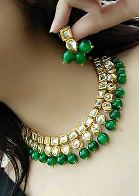 Indian Bollywood White Kundan Green Pearls Ethnic Bridal Fashion Jewelry Sets