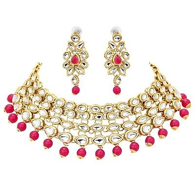 Indian Bollywood Red Pearl Kundan Choker Fashion Jewelry Wedding Wear Set