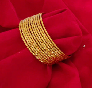 Ethnic 12 PC Indian Fashion Bracelets Jewelry Stone Bangles Gold Plated Size 2.6