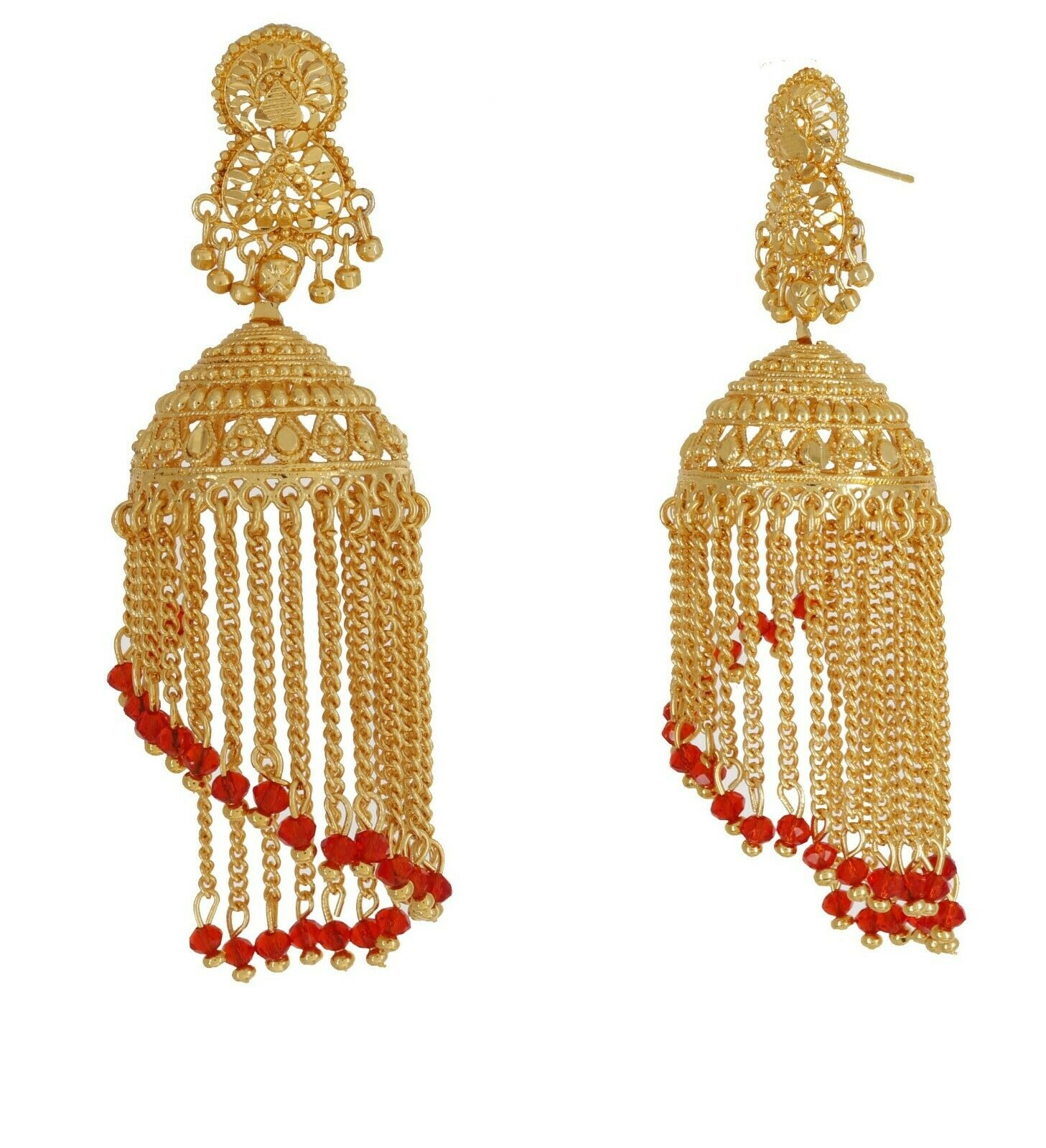 Indian Traditional Gold Plated Red Pearls Chain Fashion Earrings Wedding Jhumka