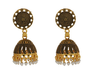 Indian Antique Gold Plated Earrings Designer Party Jhumka Bridal Fashion Jewelry