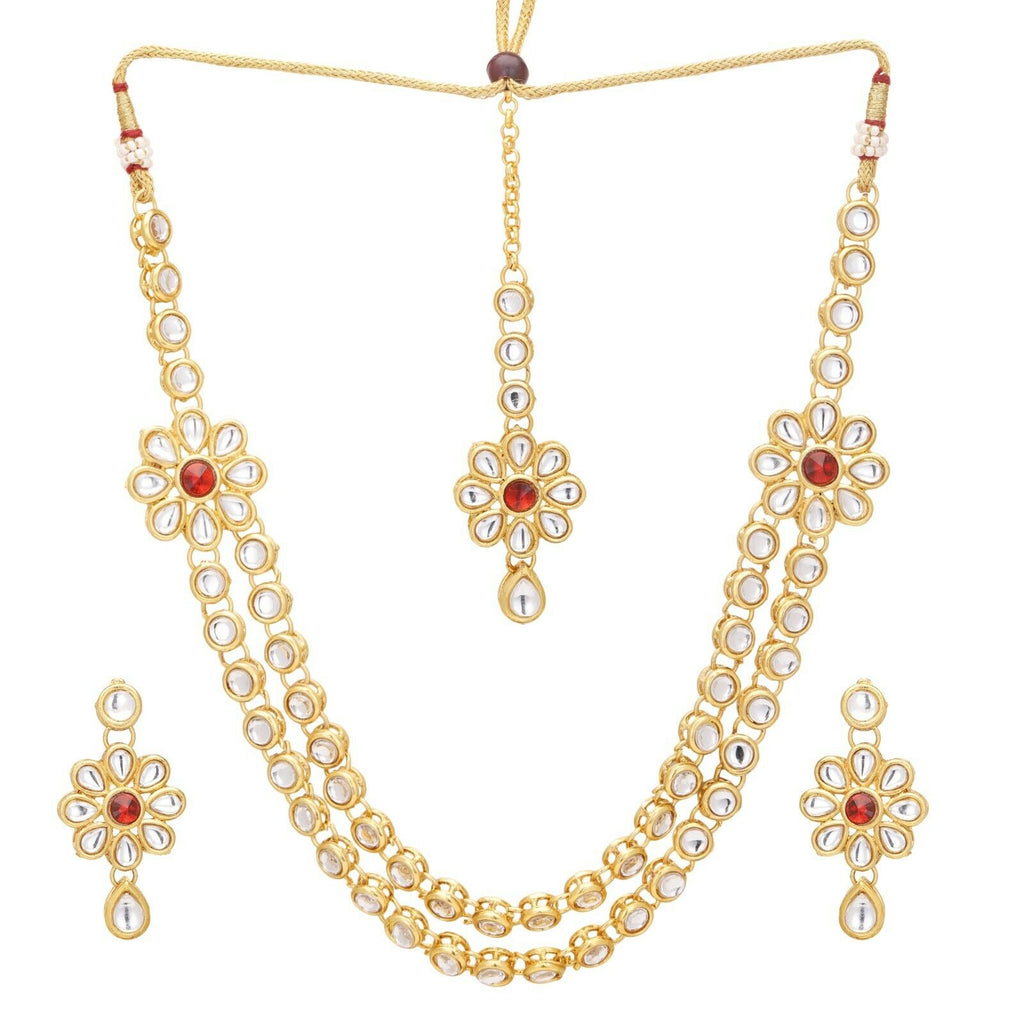 Indian Bollywood Gold Plated Red Kundan Bridal Fashion Necklace Jewelry Set