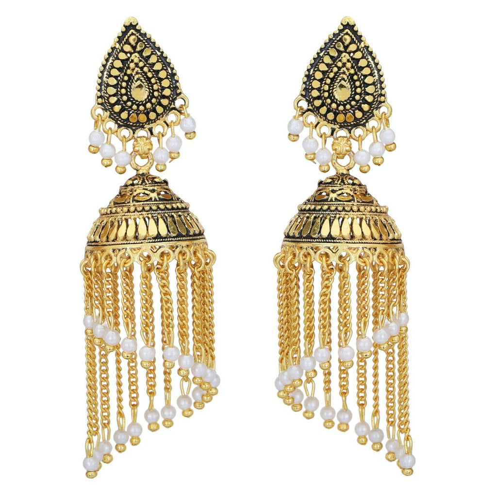 Indian White Pearl Chain Big Golden Jhumka Earrings Ethnic Bridal  Traditional