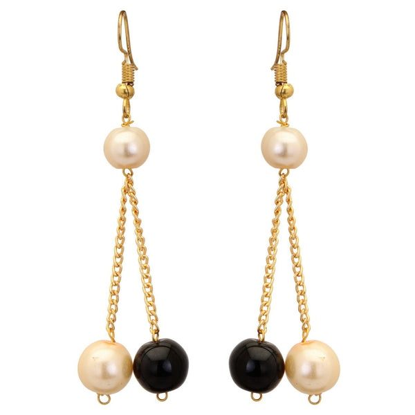 Indian Bollywood Fashion Jewelry Black & Cream Pearls Party Wear Set