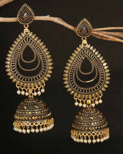 Indian Bollywood Gold Oxidized Big Jhumka Long Bridal Fashion Jewelry Earrings