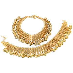 Indian Traditional Bollywood Fashion Gold Tone Pearls Bridal Anklets Jewelry