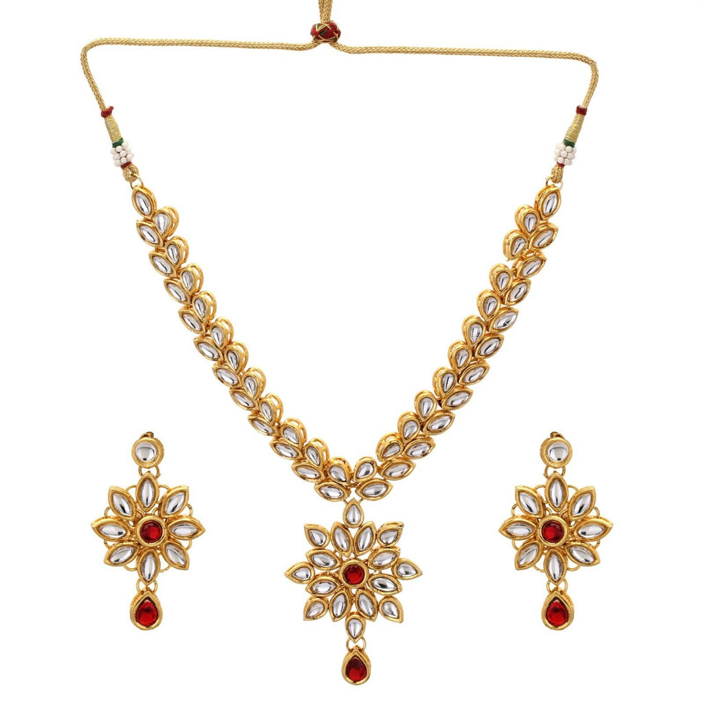 Red Kundan Gold Tone Indian Traditional Bollywood Bridal Fashion Jewelry Set