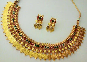 South Indian Gold Plated Bollywood Traditional Women's Fashion Jewelry Set