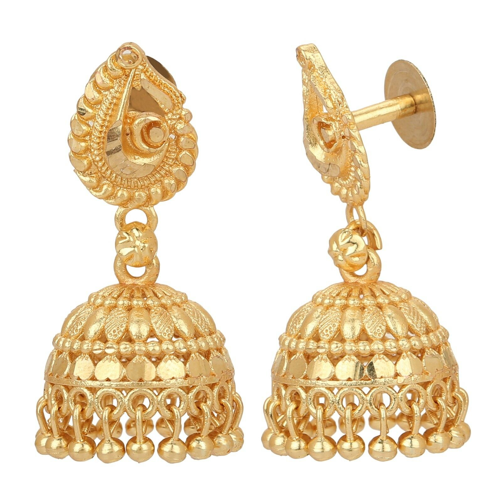 Indian Gold Plated Earrings Jewelry Women Traditional Wedding Jhumka Jhumki