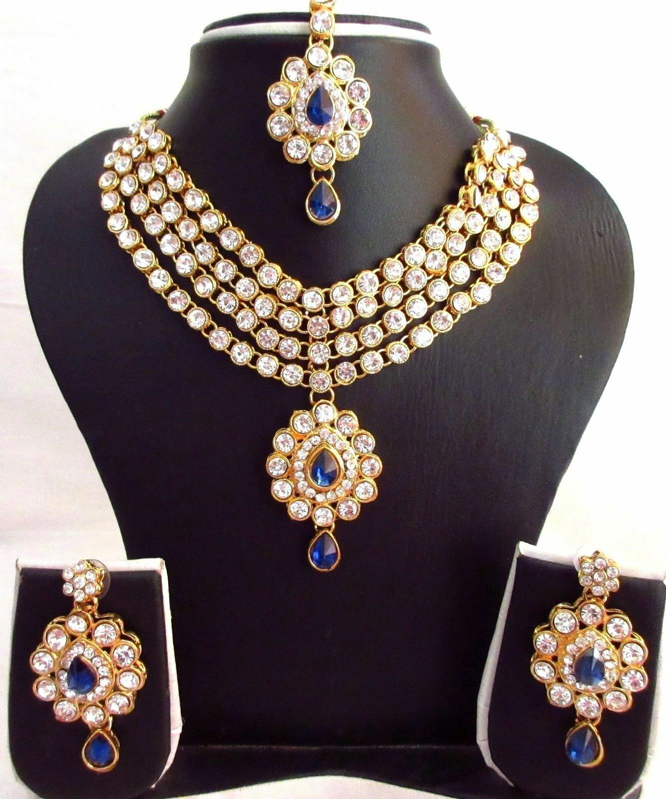 Indian Traditional Blue Kundan Jewelry Set Bollywood GoldPlated Bridal Fashion