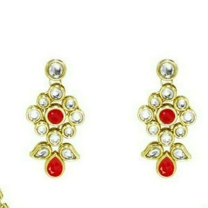 Indian Bollywood Red Kundan Necklace Set Bridal Gold Plated Wedding Jewelry
