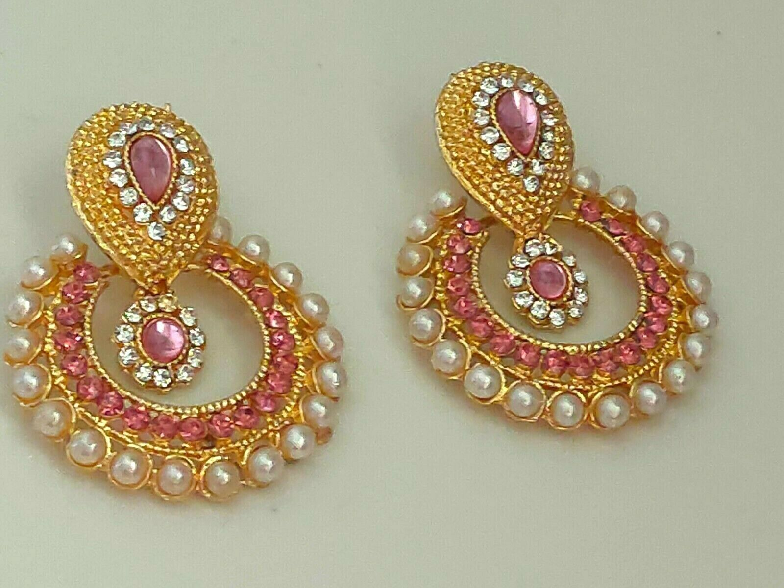 Indian Bollywood Pink Crystal Pearls Girls Chand Bali Fashion Jewelry Earrings