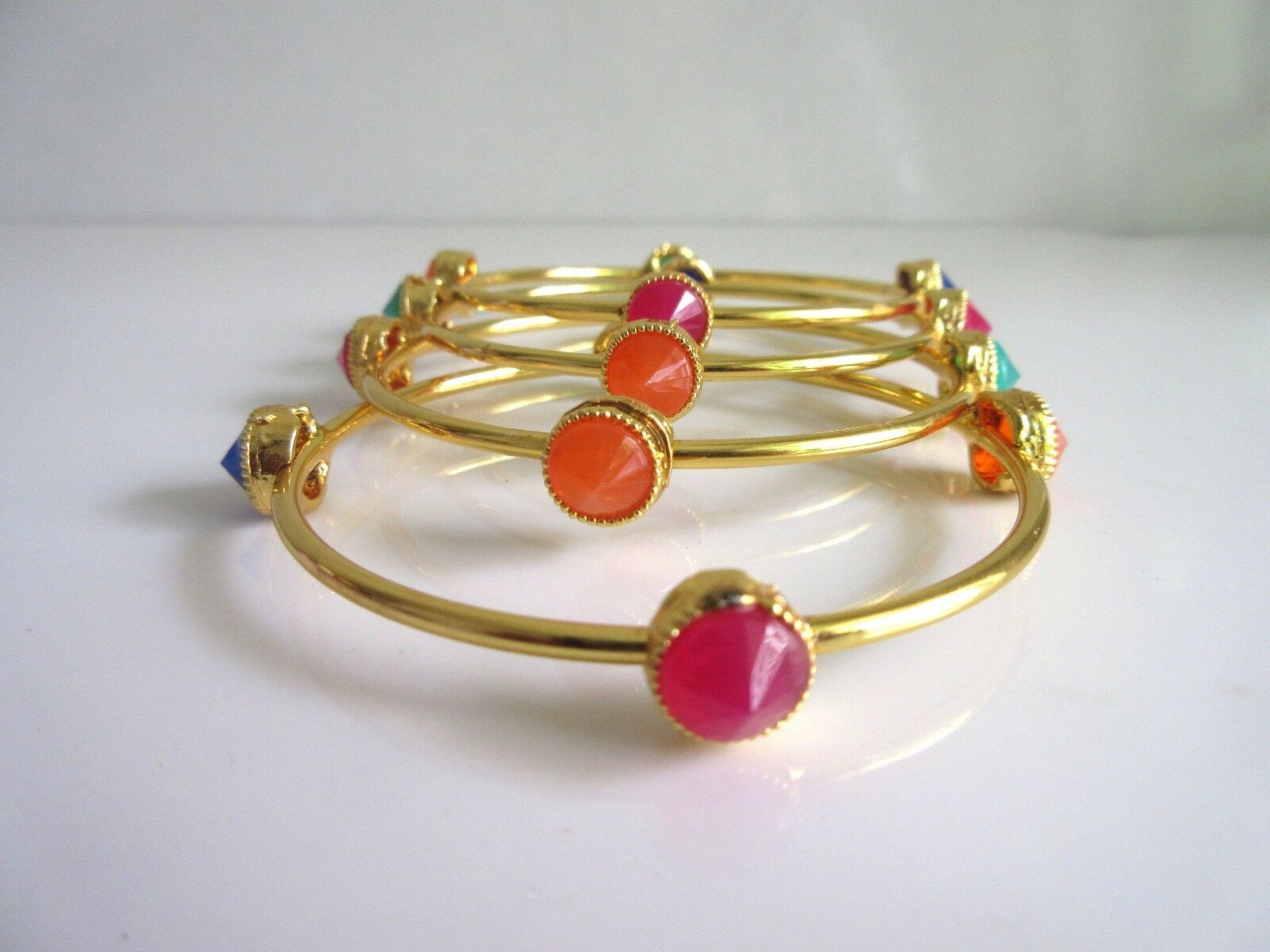 Indian Bollywood Jewelry Gold Plated Multi Color Stones Bangles Size 2.6""