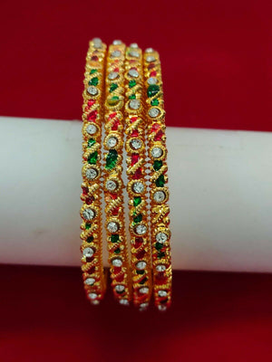 Ethnic 4 PC Indian Fashion Bracelets Jewelry Stone Bangles Gold Plated Size 2.6