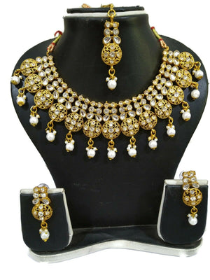 Indian Bollywood Bridal Gold Plated Kundan Pearl Choker 5Pc Necklace Jewelry Set