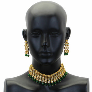 Indian Traditional Bridal Emerald Pearls Kundan Bollywood Fashion Jewelry Set