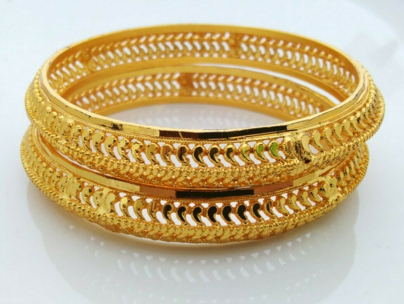 Gold Plated Indian Bangle Set Bridal Jewelry Bollywood Ethnic Bracelet Size 2.8""
