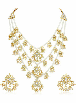 Indian Women Pearl Kundan Earrings Bollywood Fashion Pakistani Jewelry Set
