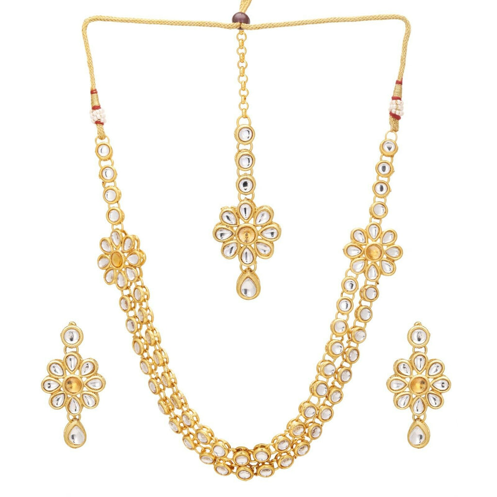 Indian Bollywood Gold Plated Gold Kundan Bridal Fashion Necklace Jewelry Set