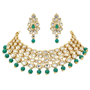 Indian Gold Plated Green Fashion Jewelry Bridal Wedding Choker Necklace Set