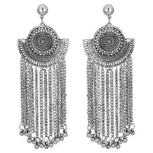 Indian Ethnic Bollywood Silver Oxidized Multi Chain Jhumki Party Fashion Earring