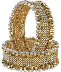 Indian Bollywood Jewelry Gold Plated Pearls Women's Party Wear Bracelets Bangle